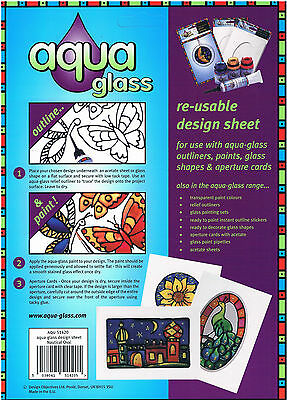 Aqua glass painting design sheet seaside flowers party animals butterfly hearts