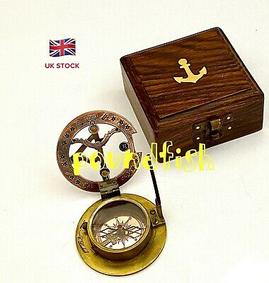 Brass Sundial Compass – Antique Sundial Compass with Box