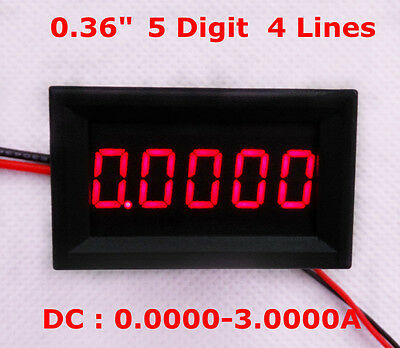 4-1/2 (4.5) Digit Curren meter Panel Counter Red LED DC 0-3.0000 4-Wires Display