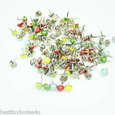 96pcs Multicolor 12.5mm Pearl brads Scrapbooking Card Making wedding Craft
