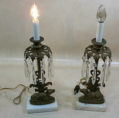 """Pair of Electric Brass Candle Holders 15"""" White Marble Crystal Prisms Dog @ Base"""