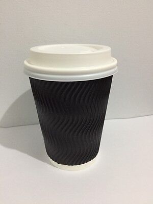 100set 12 oz Black Triple Ripple Wall Disposable Paper Coffee Cups and Lids