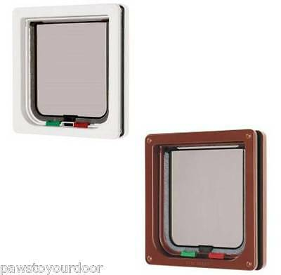 Cat Mate 309W 309B Lockable 4-Way Cat Flap Pet Door Petmate White Brown Catflap