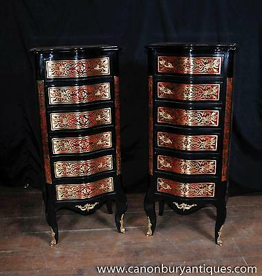 Pair Boulle Inlay Chest Drawers Tall Boy Furniture