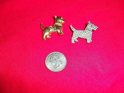 Scotty Dog Pins, Lot Of 2, Gold Tone and Silvertone, ADORABLE