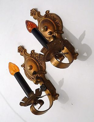 Pair Poly Colored Gothic Style Cast Iron Wall Sconces Lights