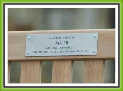 """6 x 2.5"""" LASER ENGRAVING BRUSHED STAINLESS STEEL  BENCH PET MEMORIAL PLAQUE SIGN"""