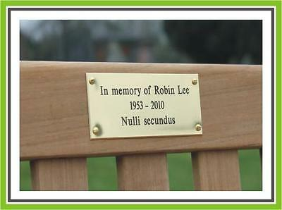 """7 x 5"""" ENGRAVED POLISHED BRASS BENCH PET MEMORIAL PLAQUE SIGN"""