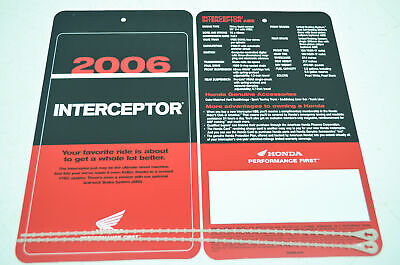 NEW OEM Honda 2006 Interceptor Sign Dealership Hang Tags NOS
