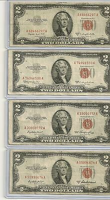 1953 $2 US Red Seal United States Notes (sold as each) u get one note great deal