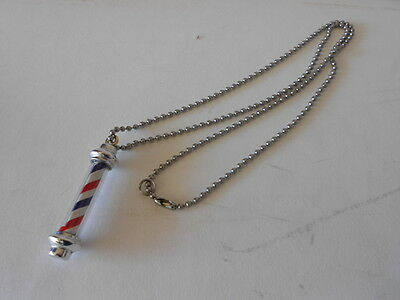 Hand Made Barber Pole Necklace, Realistic