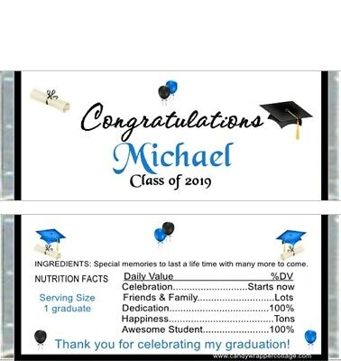 20 Graduation Party Caps Diplomas Personalized Candy Bar Wrappers Favors