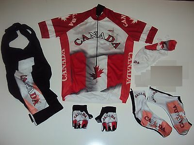 New size S - CANADA Team Cycling Flag Road Bike Set Jersey Bib Shorts Gloves +