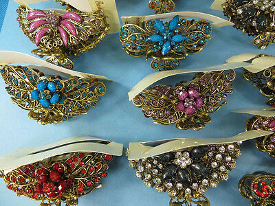 US SELLER-wholesale 5 hair claws clips with crystal rhinestone and faux gem