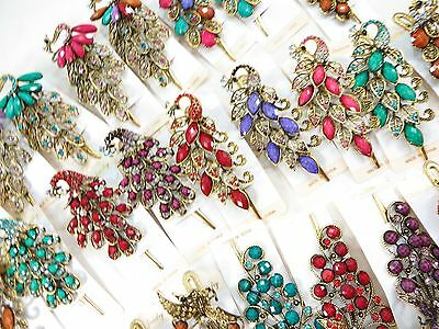 US SELLER-wholesale 10 peacock alligator clip hair clips with crystal faux gem