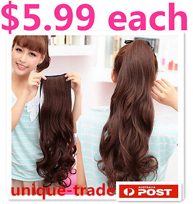 Natural Long Wave Curly Tie -Style Ponytail Hair Piece Extension wig Piece