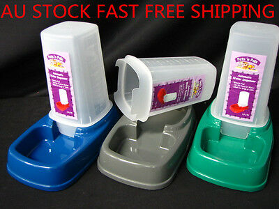 2 x Automatic Pet Dog Cat Puppy Water Food Feeder Fountain Bowl Dish Dispenser