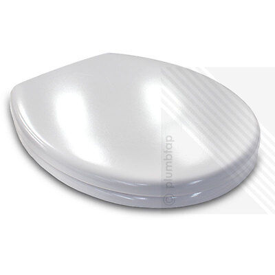 Luxury Bathroom Soft Close White Toilet Seat | Metal Top Fixing Hinges | NEW