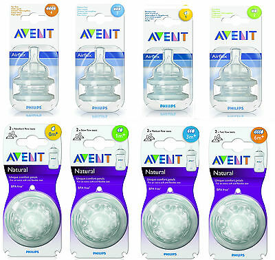 Phillips AVENT Flow Bottle Teats Dummy - All Sizes Available FREE POST