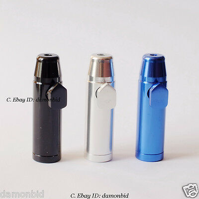 3 X Lot Metal Bullet Snuff Dispenser Snorter Rocket Shape durable aluminum Nasal
