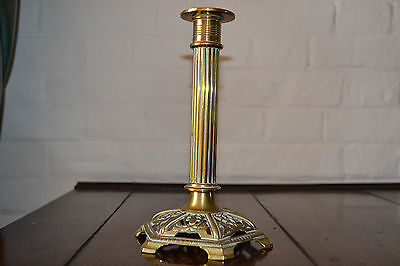 Antique early 19th century Georgian brass candle stick with pierced base, c1810