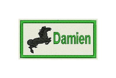 "4""x2"" Patch, tag, badge, Custom Embroidered with your Name with Horse"