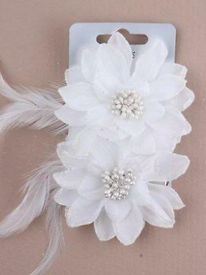 2 White Flower Hair Beak Clips With Glitter Edge