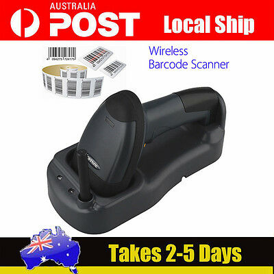 Fast! Wireless Cordless Portable Barcode laser Scanner inductive Charging 300M