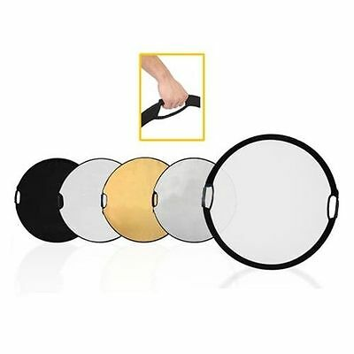 60cm Round 5 in 1 multi disc light reflector with handle grips UK Seller