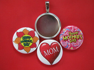 Mothers Day Moms Day Handmade changeable Tray w/3 Pendants Necklace