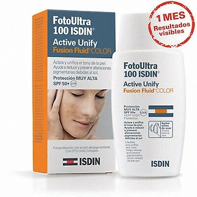 Fotoprotector Fotoultra 100+ Isdin Fusion Fluid Active Unify Color Spf 50+ 50 Ml