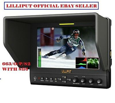 """Lilliput 7"""" 663/S2 IPS Peaking SDI HDMI in&out+battery +Waveform for BlackMagic"""