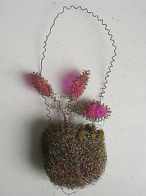 "Antique Christmas Russian ornament from tinsel "" flower basket """