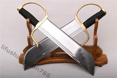 17'  A Pair  Damascus  Folded Steel  Called Butterfly  蝴蝶刀 Sword Can Cut Tree