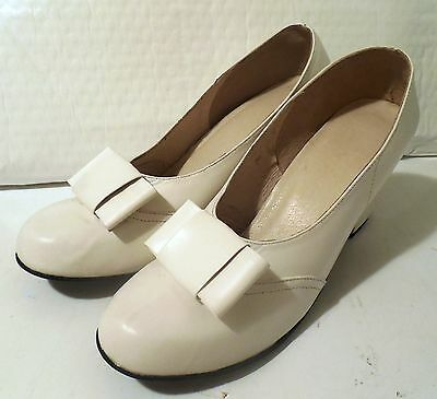 WWII USMCWR 1940 Women Bow Leather Pump Shoes White