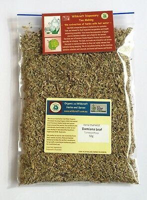 50gm DAMIANA LEAF Herbal Tea Turnera diffusa 100% Pure Certifed Wildharvested