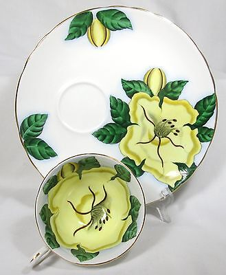 """BEAUTIFUL TUSCAN """"CUP OF GOLD"""" HAWAIIAN FLOWERS CUP & 8 INCH LUCHEON PLATE MINT!"""
