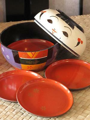 Vintage Japanese Coaster Set  …with five coasters and holder