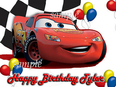 Lightening FLASH McQueen Edible PHOTO CAKE Topper ICING Image Cars