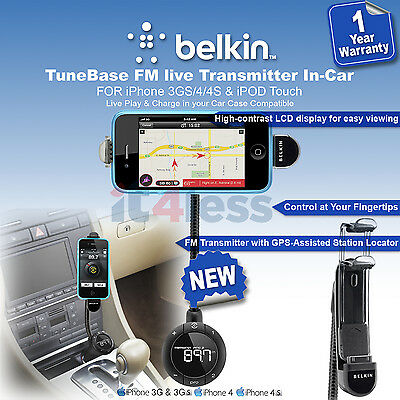 Belkin in CAR FM Transmitter 6 ClearScan Live for iPhone 4s/4 3Gs/3 iPod F8Z618