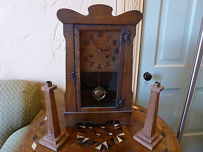 New Haven Mission Oak Antique Clock RARE with Matching Candlesticks