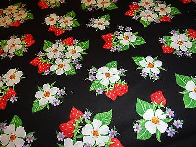 1 yard_Henry Glass_quilt cotton_strawberries_red_flowers_FREE US SHIPPING