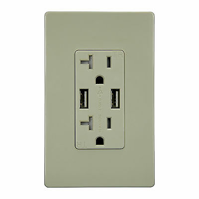 Ivory 4A High Speed Dual USB Charger W/ 20A Tamper Resistant Outlet & Plate