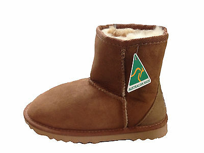 Australian Made Genuine Sheepskin Kids Mini UGG Boots Chestnut Colour Multi Size
