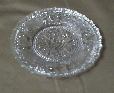 EAPG   Glass Cup Plate  Hearts Arrows and Lyre or harp