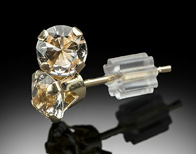 PAIR of Earrings w 4mm Round Cut Herkimer Diamonds in pure 14K GOLD /  .8 C