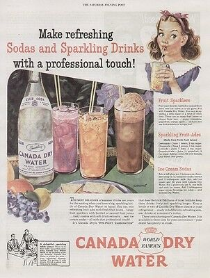 Canada Dry Sparkling Water 1946 Vintage Soda Ad, Fruit