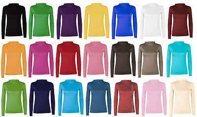 Ladies Long Sleeve Turtle Polo Neck Womens Top Jumper 8-14