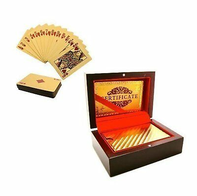 24K Luxury Gold Plated Playing Cards Deck Poker Gift Box Set Certificate NEW