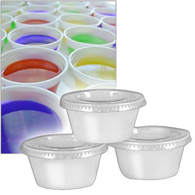 50 Sets 2 oz Translucent Souffle Cup  / Portion Cup with Lids Jello Shot Cup